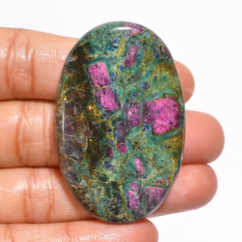 Natural Ruby Fuchsite Oval Cabochon Loose Gemstone 88.5 Ct. 48X31X5 mm EE-19166