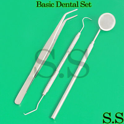 Dental Scaler Pick Stainless Steel Tools With Inspection Mirror 4 Set