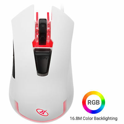 Rosewill 4000 dpi Optical Wired Gaming Mouse in White, Six Buttons ION D21