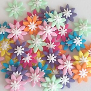 Multi Coloured Edible sugar paste Flower Decorations For Cupcakes And Cakes