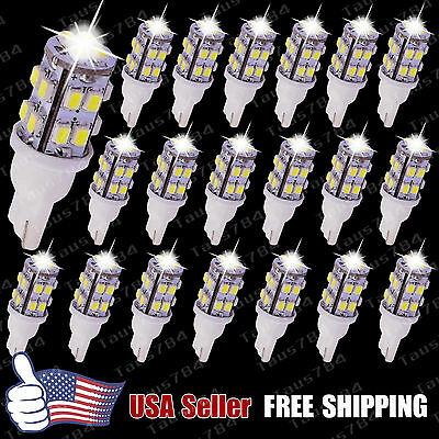 20 PCS Xenon White Wedge T10 20-LED bulbs SMD Light W5W 168 194 2825 158 192 12V