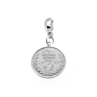 Sterling Silver 1887 Three Pence Coin Pocket watch or Albert Chain Fob Charm -