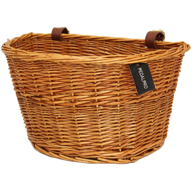 PEDALPRO VINTAGE WICKER BICYCLE BASKET WITH LEATHER STRAPS BIKE/CYCLE SHOPPING