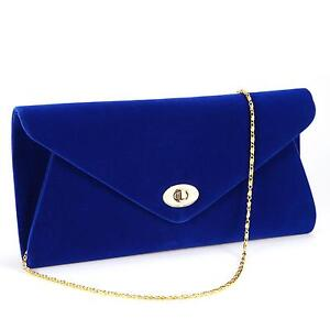 Blue Suede Clutch Bag