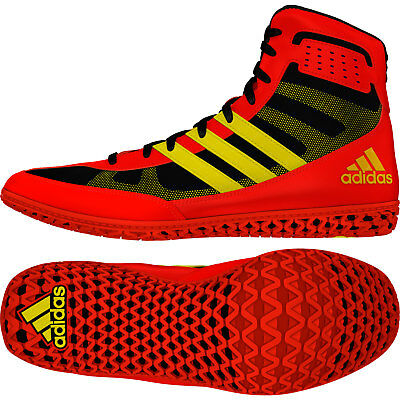 Adidas Mat Wizard 3 Wrestling Shoes Red & Yellow Boxing Boots Trainers Pumps