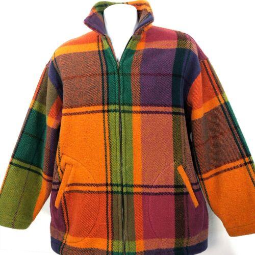 Vintage ESPRIT Rainbow Plaid Jacket Womens S/M sport avant garde fiorucci 80s