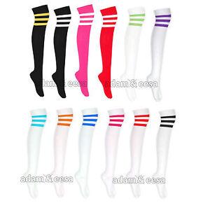 Las-Senoras-Alto-Del-Muslo-3-Raya-calcetines-RU-4-6-5-Varios-Colores-Mujer
