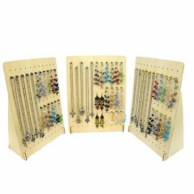 Wood Pegboard Peg Board Multi Function Jewelry Display Stand W 20pcs Metal Hook