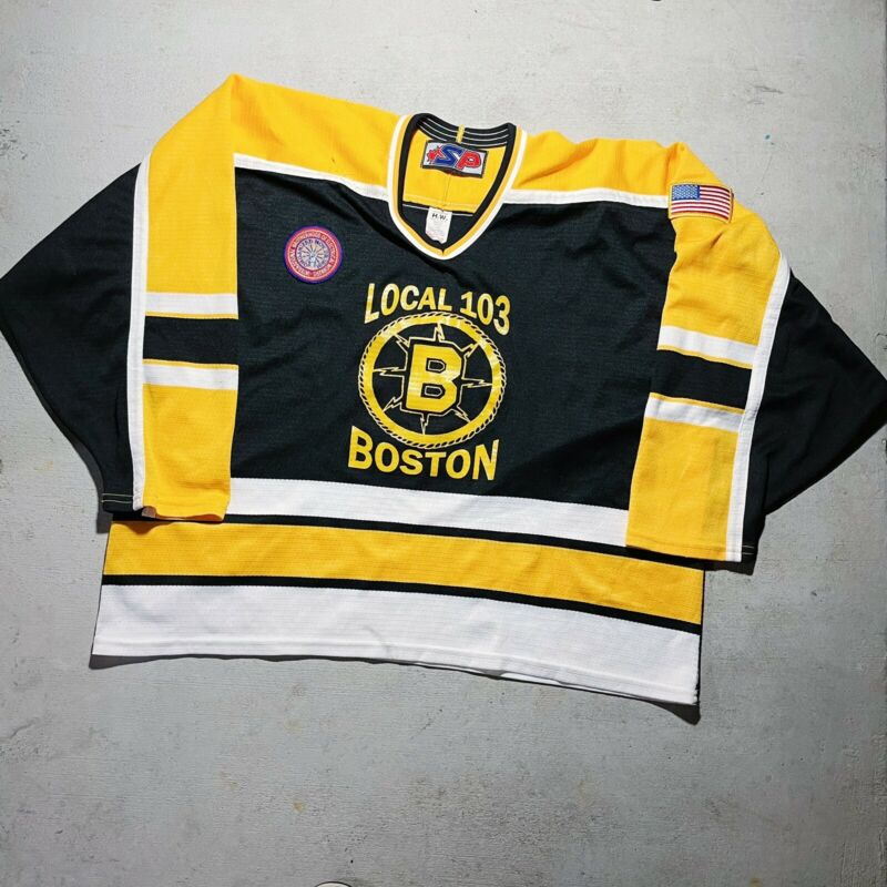 Vintage VTG 90s 1990s Boston Workers Union IBEW Local 103 Hockey Jersey XXL 2XL