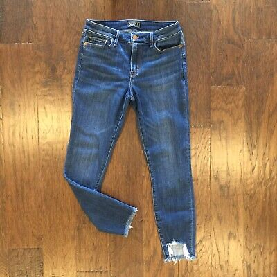 ABERCROMBIE Womens Size 4 27 Jeans Harper Low Rise Frayed Ankle Blue Denim Pants