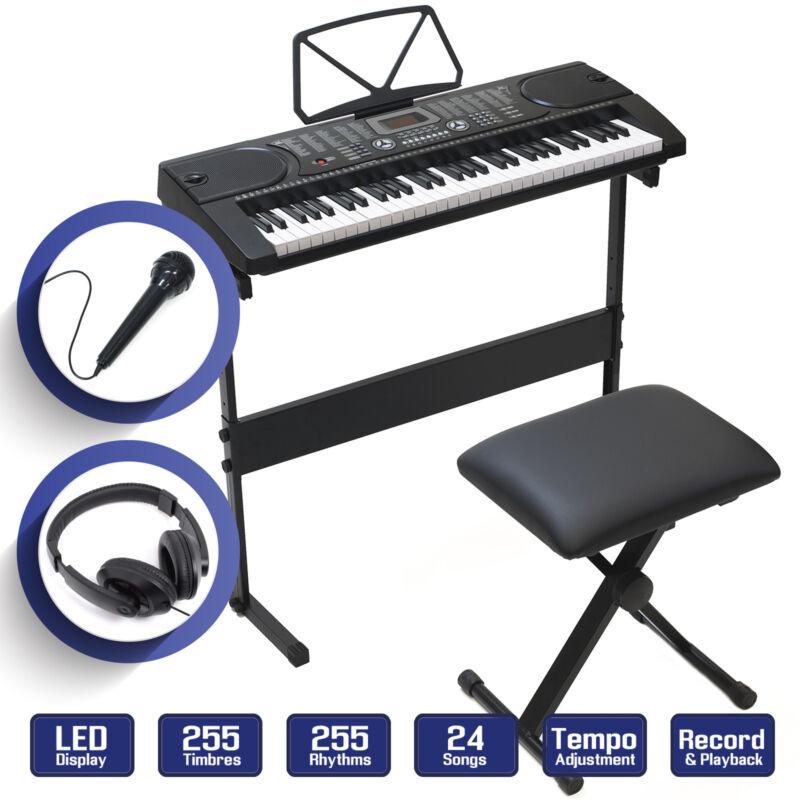 61 Key Digital Piano Music Keyboard - Electronic Keyboard Stand Stool Headphone