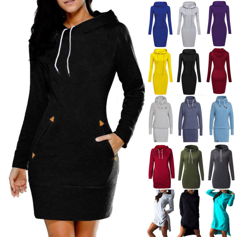 Damen Bodycon Pulloverkleid Pullikleid Kapuzenpullover Sweater Winter Kleider