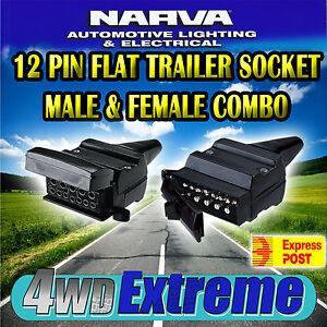 NARVA 12 PIN FLAT MALE & FEMALE TRAILER PLUGS CONNECTORS COMBO PX 82171 + 82072