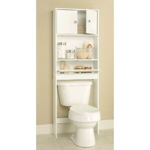 WHITE OVER THE TOILET BATHROOM SPACESAVER STORAGE CABINET SHELF ORGANIZER NEW