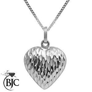 BJC-9kt-Oro-Bianco-Taglio-Diamante-Con-incavatura-Cuore-Pendente-E-Collana-P69