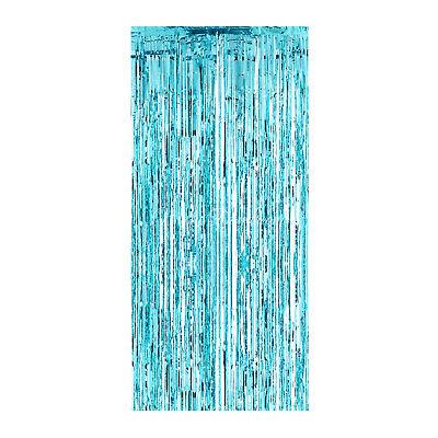 Temerity Jones Set Of 4 Blue Shimmer Foil Plastic Door Curtain Party - Plastic Door Curtain