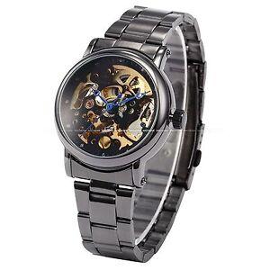 Elegant Lady Women Black Analog Dial Skeleton Automatic Mechanical Wrist Watch
