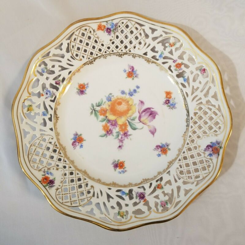 Vtg Shumann Bavaria Germany Reticulated Plate Pierced Decorative Orange Gold 10""