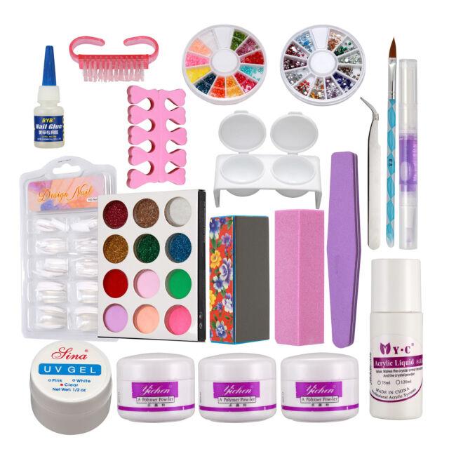 Full Acrylic Powder Liquid French Nail Art Brush Glue Uv Tip Beauty Salon Kits