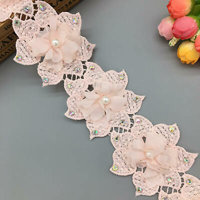 1 Yard Pearl Flower Diamond Lace Edge Trim Embroidered DIY Wedding Ribbon Sewing Diamond Trim