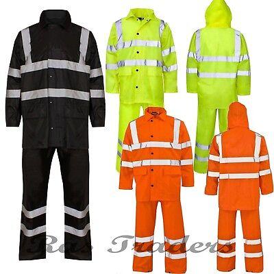 Hi Viz High Visibility Waterproof Work Bottoms Jacket Rain Coat Suit Trousers (High Viz Rain Suit)
