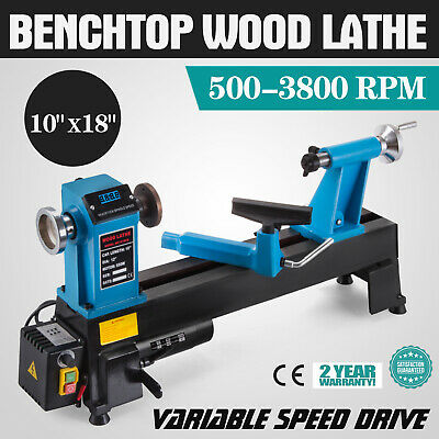 10x18 Wood Lathe Digital Readout Benchtop Top Drive Stability 500-3800rpm