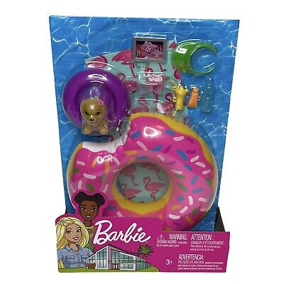 Barbie Doll Outdoor Pool Donut Floatie Float Accessories Set Dog Sunglasses