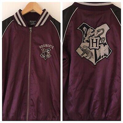 Harry Potter HOGWARTS Baseball Zipper Jacket Black Beet Red Women's Medium NWT