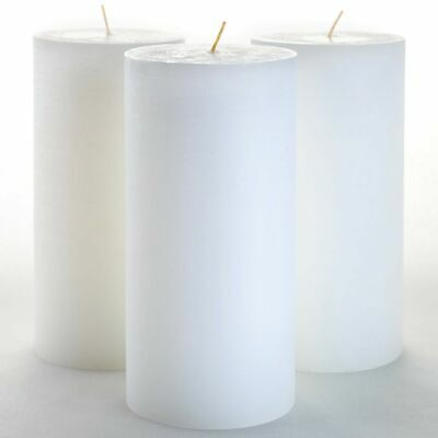 """Set of 3 White Pillar Candles 3"""" x 6"""" Unscented for Weddings"""