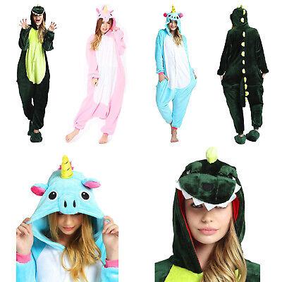 Women Girls Unicorn Dinosaur Costumes Pyjamas Animal Cosplay Body Suit