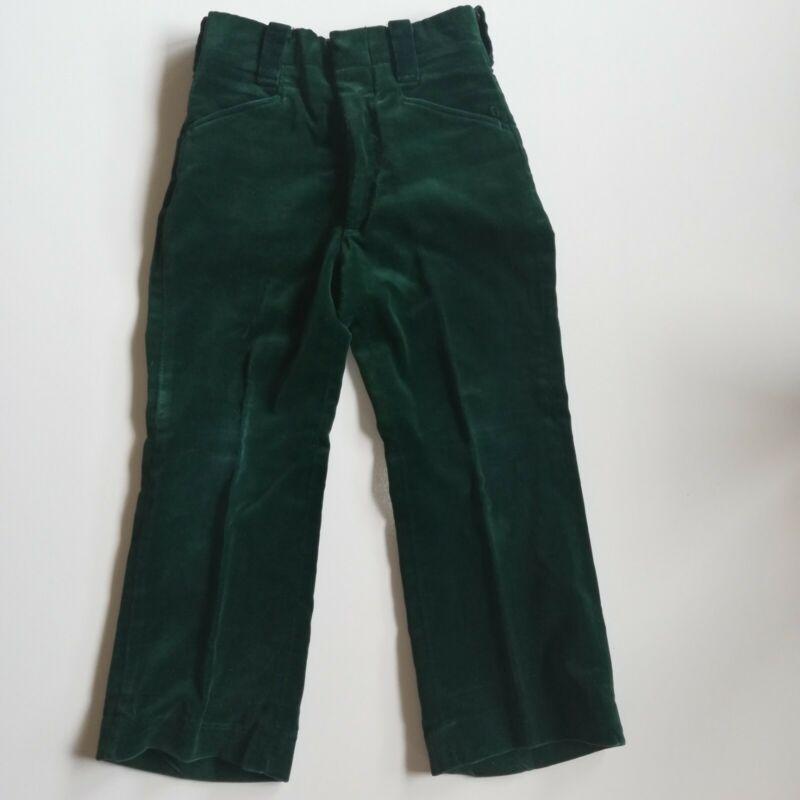 Vintage 1960s Boys Emerald Green Velvet Dress Pants Slacks Size Toddler 4T 5T