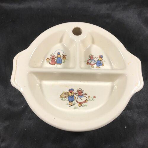 Vintage Ceramic Baby Food Warming Dish Divided Bowl Dutch Children