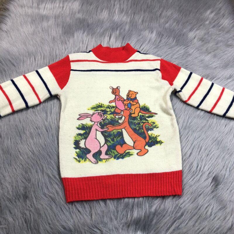 Vintage 70s Disney Winnie The Pooh Red Blue Striped Sweater