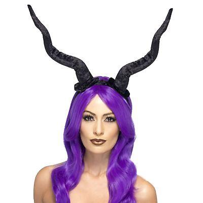 New Black Fairy Demon Queen Horns Headband Plush Soft Velvet Magical Fancy - Fairy Queen Kostüm
