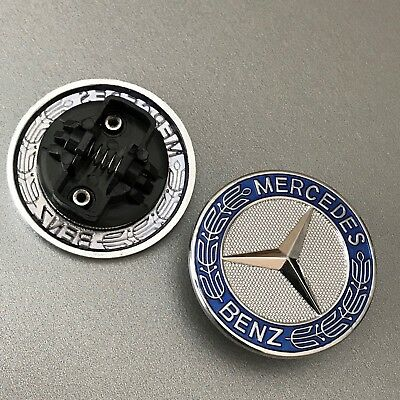 Metal Flat Hood Emblem For Mercedes Benz C E SL Class Ornament logo Blue 57MM