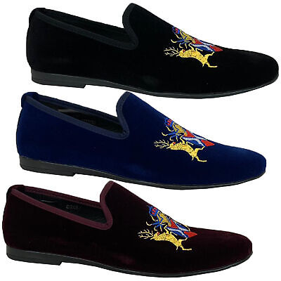 Mens Italian Velvet Logo Embroidery Loafers Shoes Moccasin Slip On Designer New