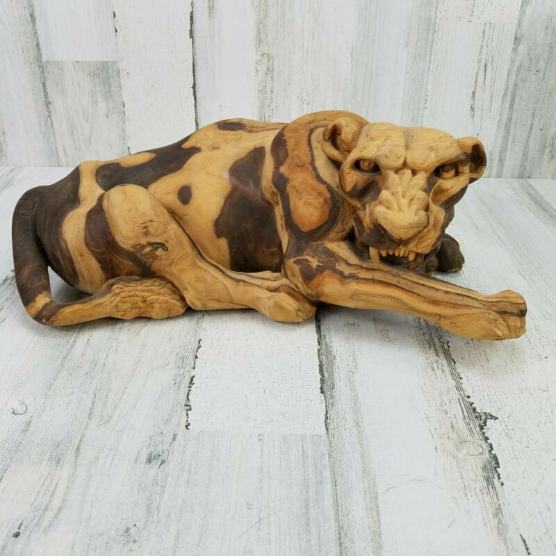Hand Carved Heavy Solid Wooden Large Sabre Tooth Tiger Cat Statue Figure
