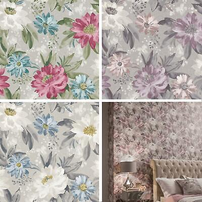 Arthouse Painted Dahlia Floral Wallpaper Flowers Pink Lilac Blue Grey -