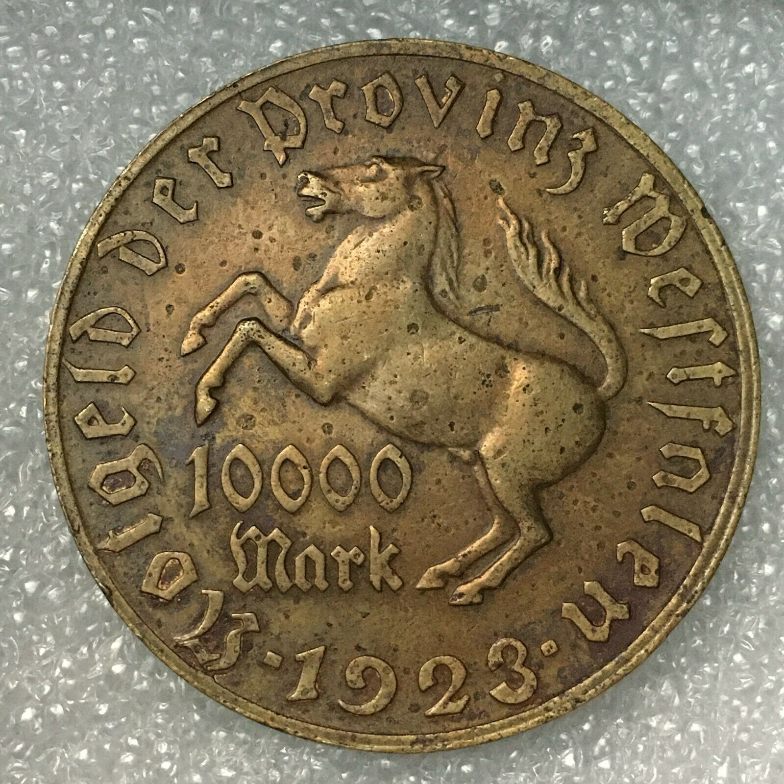 "1923 GERMANY (Westphalia) 10.000 MARK ""FREIHERR vom STEIN"" 21.7g, 44.5mm."