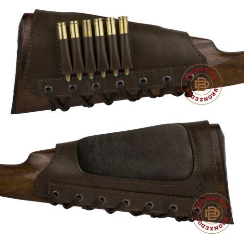 Leather Rifle Shell Cartridge Buttstock Holder Stock Gun Cover Padded Cheek Rest