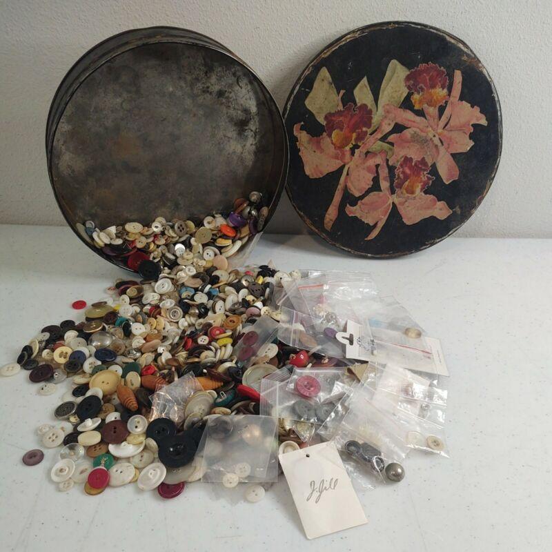VTG Helen Harrison Candies Tin Full OF VTG Buttons Possible Celluloid Bakelite