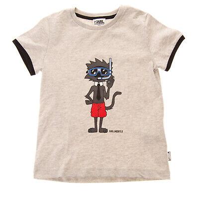 KARL LAGERFELD KIDS T-Shirt Top Size 3Y / 94CM Melange Printed Logo Short Sleeve