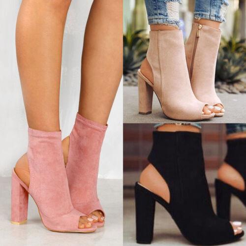 Womens Ladies Platform High Block Heel Sandals Open Toe Ankl