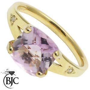 BJC-9kt-Oro-giallo-Ametista-amp-Diamante-Con-accenti