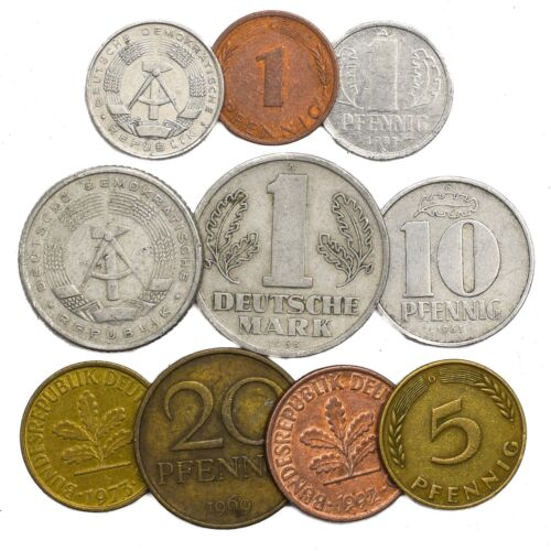 10 GERMAN COINS FROM EAST AND WEST GERMANY EUROPE: PFENNIG, MARK