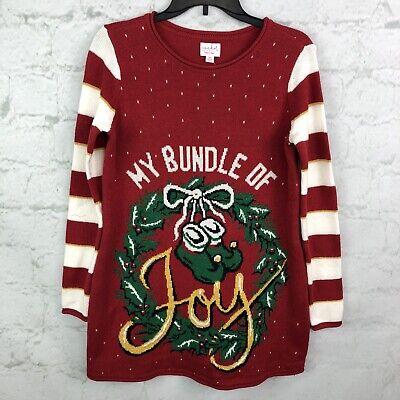 Isabel Maternity Sweater Womens XS Christmas Bundle of Joy Baby Wreath not ugly  ()