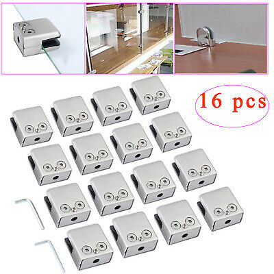 16 pcs 8-10mm Stainless Steel Square Glass Clamp Holder Clamp Bracket covid 19 (Steel Square Glass Clamp coronavirus)