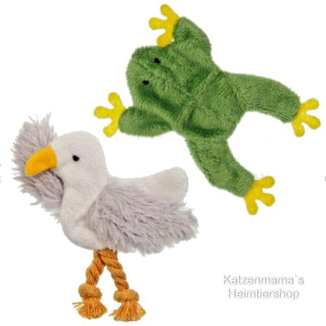 2 Plüsch Katzenspielzeug Frosch und Möwe mit Katenminze 46996/994