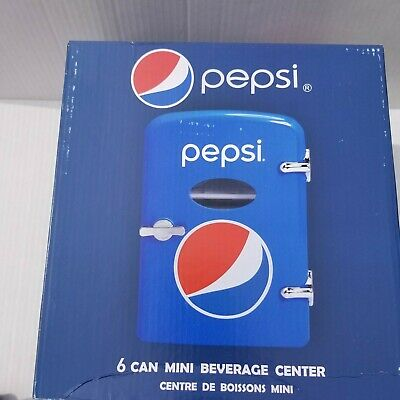 Pepsi 6 Can Mini Refrigerator Retro Beverage Center Car Adapter NEW