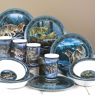 Wild Wings TIMBER WOLF 12pc Wildlife Art Casual Dinnerware Set Dishes NEW